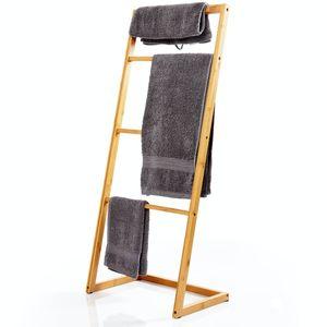 bambuswald© Handtuchleiter aus 100% ökologischen Bambus ca. 100x40x28cm für Badezimmer, Schlafzimmer & Wohnzimmer | Kleiderleiter Handtuchhalter Kleiderständer Handtuchständer Leiter Holzleiter