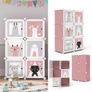 Vicco Kleiderschrank Andy Kinder rosa modular 6 Fächer Kleiderstange Steckregal