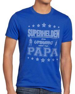 style3 Superhelden ohne Umhang nennt man Papa Herren T-Shirt Fun Shirt Vater Dad, Größe:5XL, Farbe:Blau