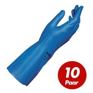 MAPA Optinit Nitrilhandschuhe 472, blau, silikonfrei, Lebensmittelkontakt geeignet, einfacher Chemikalienschutz - 10 Paar Größe:8