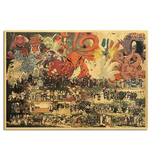 70.5X50cm Vintage Cartoon Anime Naruto Poster Bar für Kinderzimmer Home Decor Comics Naruto Retro Kraftpapiermalerei