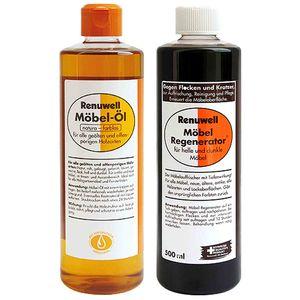 Renuwell Möbel Öl 500 ml + Regenerator 500 ml Spar-Set
