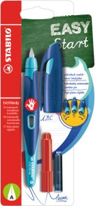 Ergonomischer Schulfüller für Rechtshänder mit Anfänger-Feder A - STABILO EASYbirdy in mitternachtsblau/azur - Einzelstift - Schreibfarbe blau (löschbar) - inklusive Patrone und Einstellwerkzeug