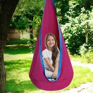 Hängehöhle Kinder Hängesessel Hängesack Hängematte als Turngerät mit Aufblasbares Sitzkissen,Rosa
