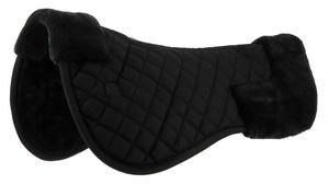 Rückenschoner Riding World mit Kunstfell unterlegt Sattelkissen Sattelpad, Farbe:schwarz