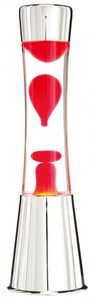 Lavalampe 40cm Rot & Klar / Magma Lampe Chrom