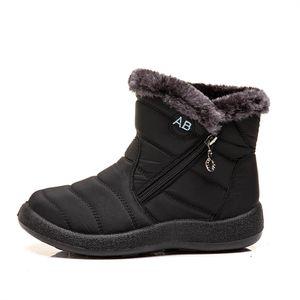 Damen Winter Schneeschuhe Warm und antiskid Seitlicher Reißverschluss Stiefel,Farbe: Schwarz,Größe:42