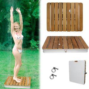 Teakholz Gartendusche Außendusche 70x55cm Bodendusche Dusche aus Teak Holz, Rahmen aus Aluminium, inklusive Adapter und Filter