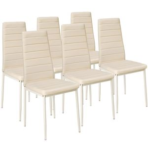 tectake 6 Esszimmerstühle, Kunstleder - beige