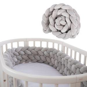 Bettschlange 2,2 m Baby geflochten Bettumrandung - Bettrolle für Babybett Nestchen Schlange Nestchenschlange 220 cm Grau