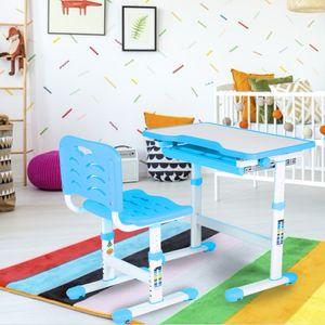 Kinderschreibtisch Blau Schülerschreibtisch Neigbar mit Stuhl Höhenverstellbar