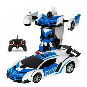Kinderspielzeug RC Fernbedienung Auto Transformers 2 IN1 Fernbedienung Elektrisches King Kong Deformationsroboter-Spielzeugauto(Polizeiauto)