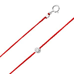 Glücksband Rotes Fadenarmband Silber 925 weisser klarer Zirkonia Ø4mm 18+3cm Damenschmuck 18