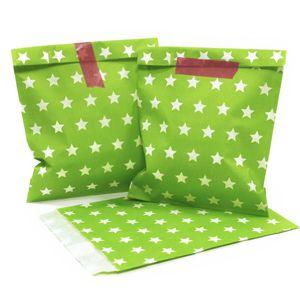 100 PAPIERTÜTEN 4x25 Stück grün Sterne, beachblau Sterne, gelb Sterne, rot Sterne 13x16,5cm, 45Gramm Papier, flach / Hochzeit, Papiertütchen, Mitgebseltüten