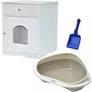 XL Katzenhaus mit Schublade inkl. Katzentoilette und Streuschaufel