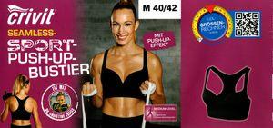 Damen Fitness-Seamless-Sport-Bustier - Seamless Schwarz Push-up, L 44/46 (Farbe: Seamless Schwarz Push-up, Größe: L 44/46)
