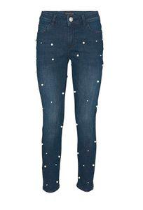 Patrizia Dini Damen Designer-Jeans mit Perlen, dunkelblau, Größe:42