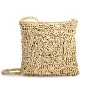 JOSEKO Stroh Crossbody Tasche, Sommer Strand Vintage Handarbeit Umhängetasche Handarbeit Woven Handtasche Stroh Gestrickt Messenger Tasche Beige