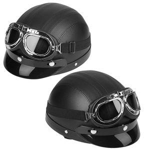 Motorrad Retro Motorradhelm Helm Oldtimerhelm Halbschale Halbschalenhelm Schwarz 54-60cm