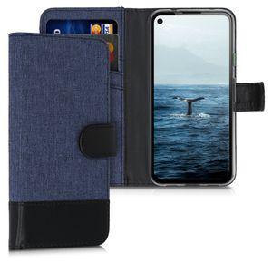 kwmobile Wallet Case kompatibel mit Google Pixel 4a - Hülle Kunstleder mit Kartenfächern Stand in Dunkelblau Schwarz