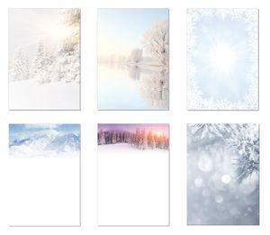 6 x 5 Blatt Motivpapier Briefpapier Mix DIN A4 verschneite winterlich weihnachtliche Natur-Landschaften (Winter-5244)