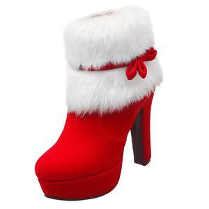 Stiefel Halbschaft Damen, Rote Weihnachten Stiefeletten mit Absatz Winter Schuhe Winterschuhe Winterstiefel Kunstfell für Weihnachtskostüm 37