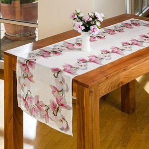 Tischläufer Tischdecke Mitteldecke Deckchen 40 x 140 cm Magnolien Motiv Druck