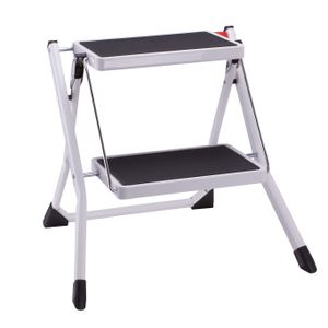 MSV Klapptritt Trittleiter Haushaltsleiter ca. 49 x 49 x 45 cm, belastbar bis 150kg, 2 große Stahl-Stufen mit Anti-Rutsch-Matten (schwarz)