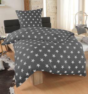 DreamHome 2 teilige Sterne Bettwäsche Bettbezug 135x200 und Kissenbezug 80x80 , Farbe:Anthrazit