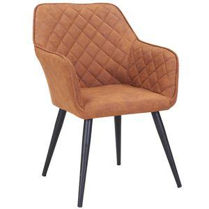 Duhome Esszimmerstuhl Armlehnstuhl Sessel Armsessel Stoff Lederoptik (Veloursleder) Orange Braun Kupfer Ocker Metallbeine