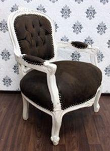 Barock Salon Stuhl Braun / Creme Lederoptik