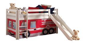 """Vipack Spielbett Pino mit Rutsche und Textilset """"Feuerwehr"""" - Kiefer massiv weiss lackiert, Maße: 210 cm x 114 cm x 218 cm; PICOHSGB1470"""