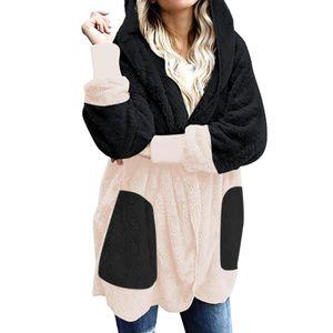 Lässige Leoparden-Taschen für Frauen Übergroßer Faux Fuzzy Hooded Outerwear Coat Größe:M,Farbe:Schwarz