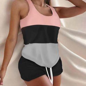 Damen Homewear Outfits 2-teiliges Set aermellose Tank-Top-Shorts und losen Shorts,Pink,XL