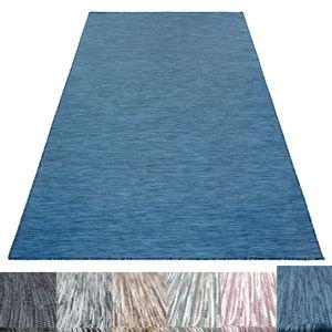 Outdoor Indoor Teppich Sisal Optik Flachgewebe Wintergarten Teppich Einfarbig, Farbe:Blau, Grösse:200x290 cm