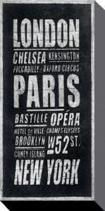 London Poster Leinwandbild Auf Keilrahmen - London, Paris, New York (100 x 50 cm)