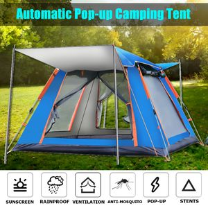 Pop-up Familie Camping Zelt für 6-7 Personen, 240 x 240 x 154cm Wasserdicht Schnell einrichten Doppeltür Wurfzelt für Outdoor Camping, Wandern, Angeln (Blau)