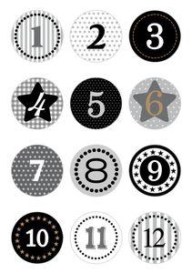 """HERMA Weihnachts-Sticker DECOR """"Adventskalender"""" grau 2 Blatt à 12 Sticker"""
