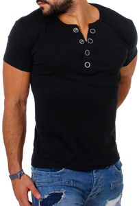Young & Rich Herren Uni feinripp T-Shirt mit Knopfleiste & tiefem Ausschnitt deep V-Neck einfarbig big buttons große Knöpfe 1872, Grösse:XXL, Farbe:Schwarz