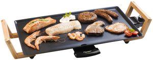 Bestron Teppanyaki Grillplatte im Asia Design, Elektrischer Tischgrill mit Bambus-Griffen, 2.000 Watt, Schwarz