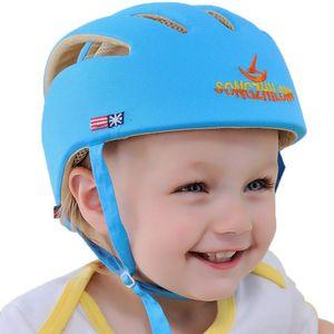 Baby Helm Kleinkind Schutzhut Kopfschutz Baumwolle Hut Verstellbarer Schutzhelm Blau