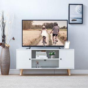 WYCTIN TV Lowboard Fernsehschrank Unterschrank 2 Türen 2 Fächer Weiß