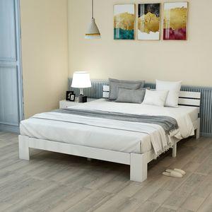 Merax Doppelbett Massivholzbett 140x200 cm Bettgestell Bettrahmen mit Kopfteil und Lattenrost, Weiß