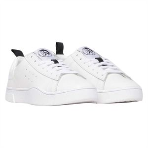 DIESEL Damen Low Sneaker - S-Clever, Mohawk, Kontrasteinsatz, Schnürung, Leder weiß (weiß) 40.5 EU