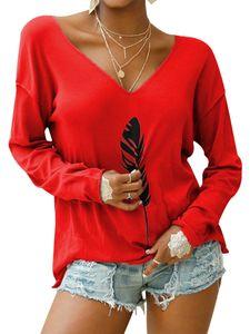 Langärmliges bedrucktes T-Shirt-Oberteil mit V-Ausschnitt für Damen in Übergröße,Farbe: Rot,Größe:M