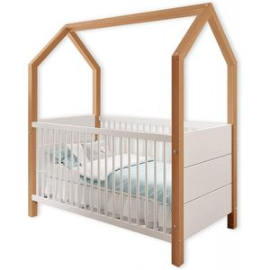 Babybett Spielbett Pfostenbett Massivholz 70 x 140 cm 22-810-03 HOUSE Erle / Weiß