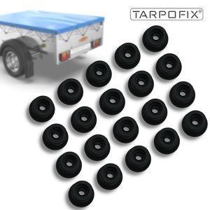 Tarpofix® Planenknöpfe Rundknöpfe (20 Stk.) - Netzhaken aus Hartkunststoff - Anhänger Haken für Anhängerplanen & Anhängernetze - Planenhaken rund