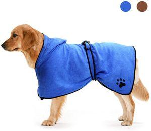 Mikrofaser Hundebademantel Schnell Trocknend Hund Bademantel Handtuch Mit Gürtel-L Blau