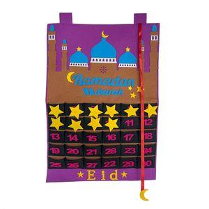Eid Mubarak 30 tage Advent Kalender Hängen Fühlte -Kalender Muslimischen Kinder Geschenke Ramadan Party Dekoration Lieferungen Farbe Lila