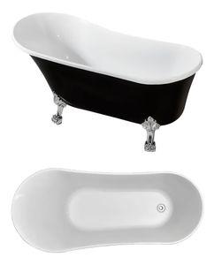 freistehende Badewanne BW-IX041 160 x 72 x 75 cm, schwarz/weiß